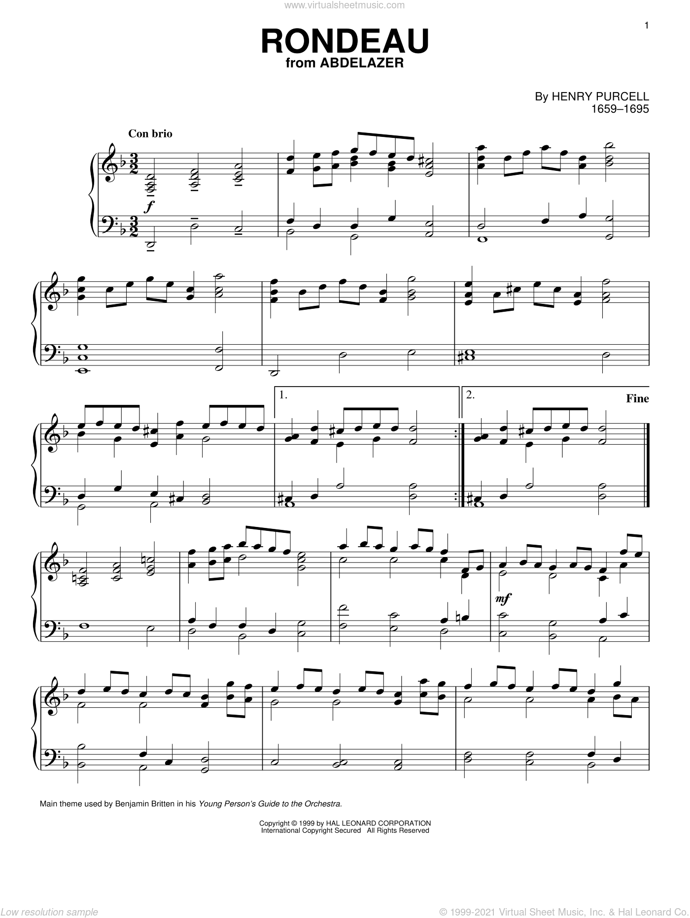 Rondeau sheet music for piano solo by Henry Purcell, classical score, intermediate skill level