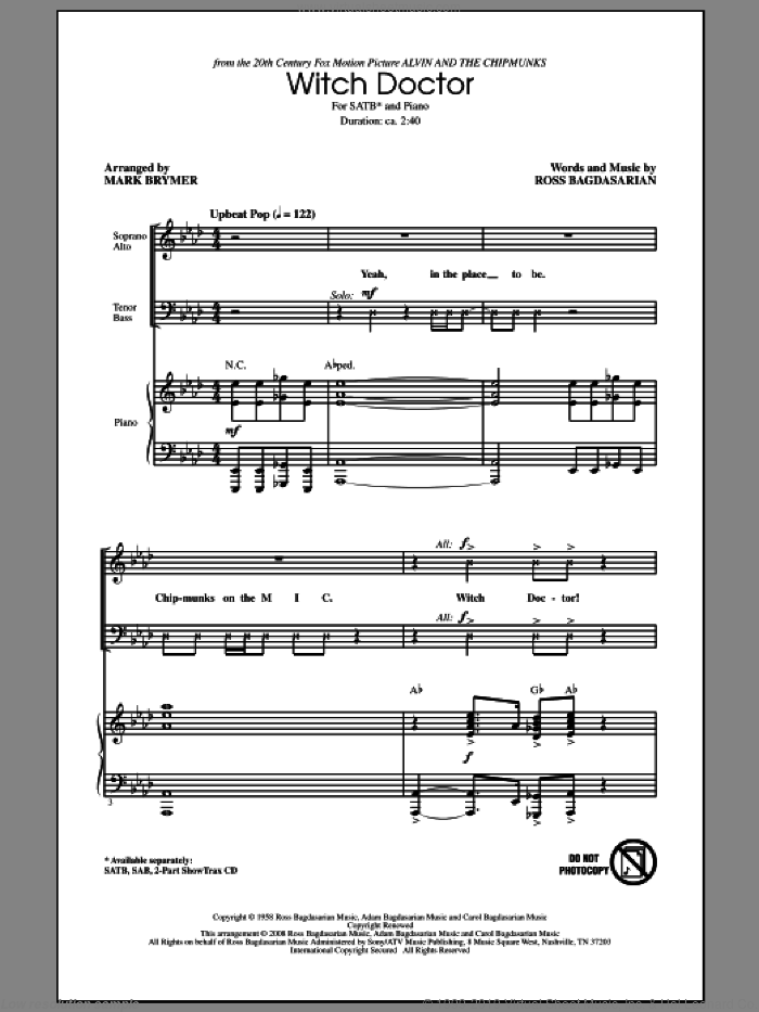 Witch Doctor (from Alvin And The Chipmunks) sheet music for choir (SATB: soprano, alto, tenor, bass) by Ross Bagdasarian and Mark Brymer, intermediate skill level