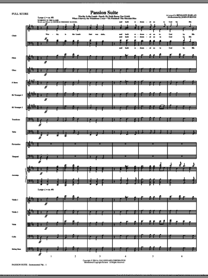 Passion Suite sheet music for orchestra/band (full score) by Benjamin Harlan