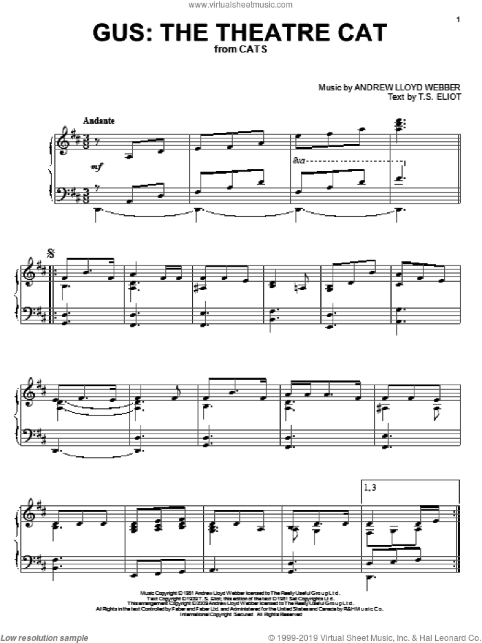 Gus: The Theatre Cat sheet music for piano solo by Andrew Lloyd Webber, intermediate piano. Score Image Preview.