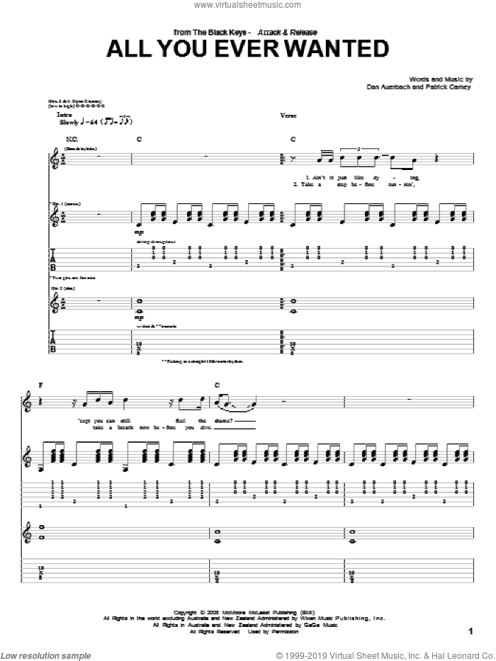 All You Ever Wanted sheet music for guitar (tablature) by Patrick Carney and Daniel Auerbach