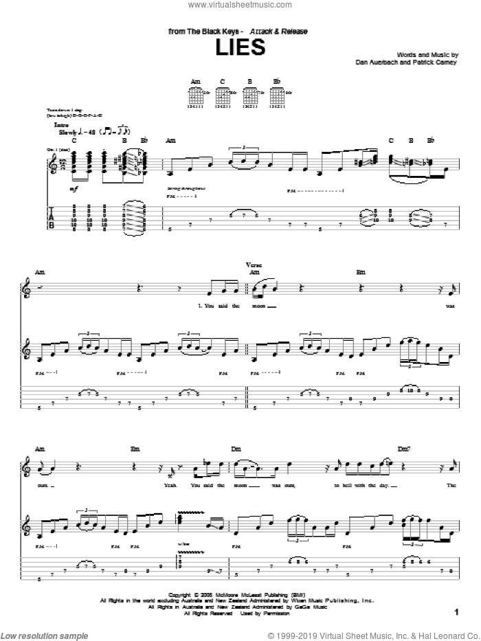 Lies sheet music for guitar (tablature) by Patrick Carney and Daniel Auerbach. Score Image Preview.