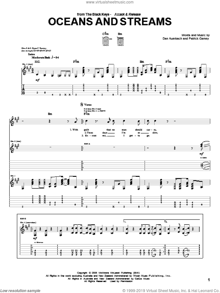 Oceans And Streams sheet music for guitar (tablature) by Patrick Carney and Daniel Auerbach. Score Image Preview.