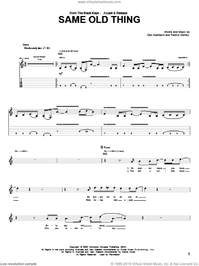 Same Old Thing sheet music for guitar (tablature) by The Black Keys, Daniel Auerbach and Patrick Carney, intermediate