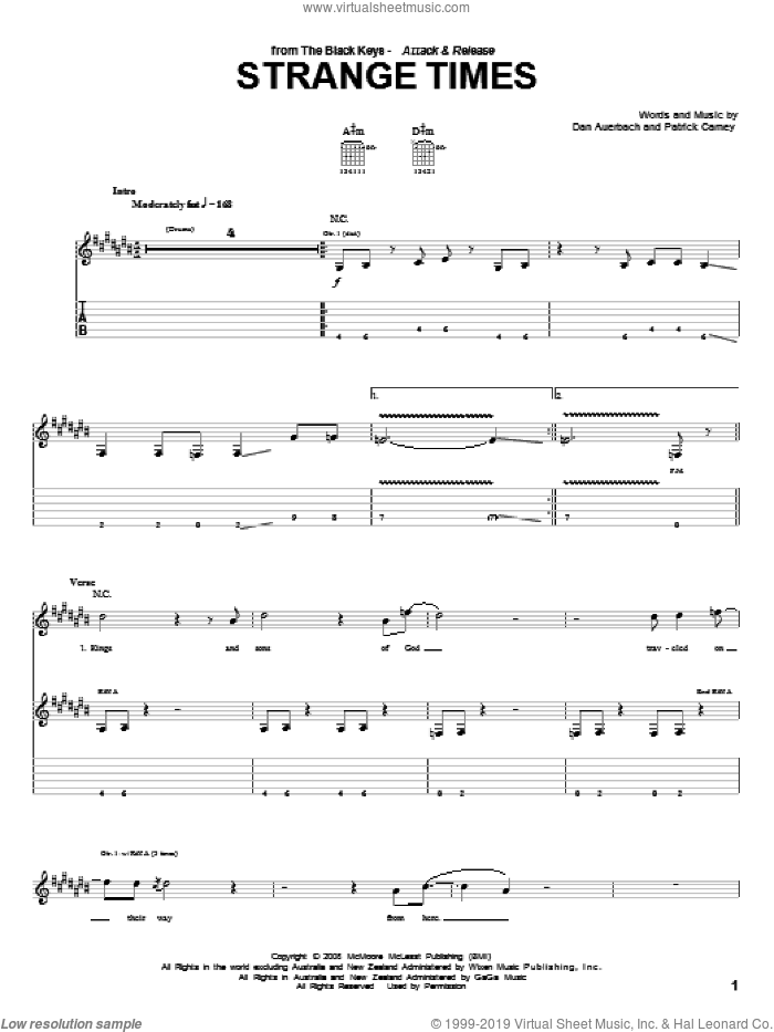 Strange Times sheet music for guitar (tablature) by Patrick Carney