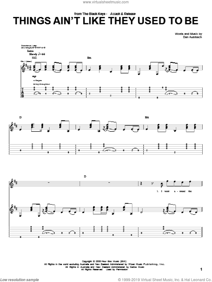 Things Ain't Like They Used To Be sheet music for guitar (tablature) by The Black Keys and Daniel Auerbach. Score Image Preview.