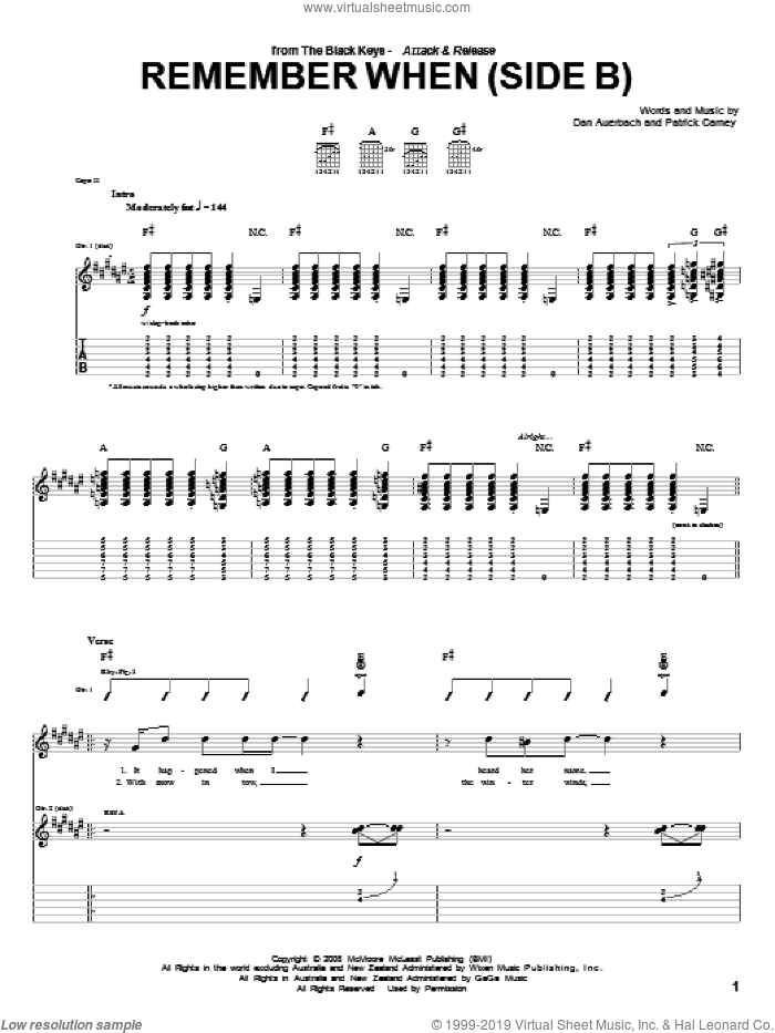 Remember When (Side B) sheet music for guitar (tablature) by Patrick Carney and Daniel Auerbach. Score Image Preview.