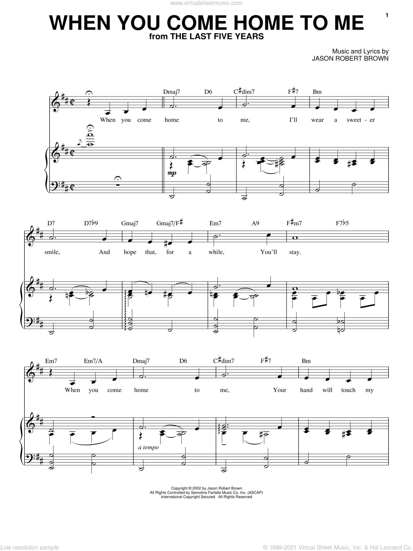 When You Come Home To Me (from The Last 5 Years) sheet music for voice and piano by Jason Robert Brown and The Last Five Years (Musical), intermediate skill level