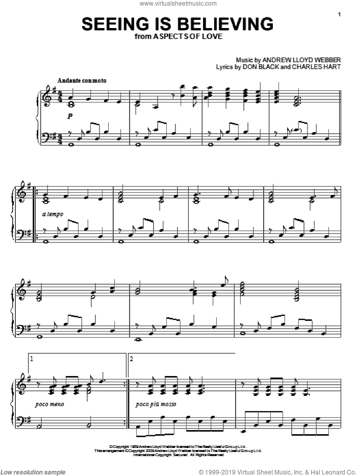 Seeing Is Believing sheet music for piano solo by Andrew Lloyd Webber, Aspects Of Love (Musical), Charles Hart and Don Black, intermediate. Score Image Preview.