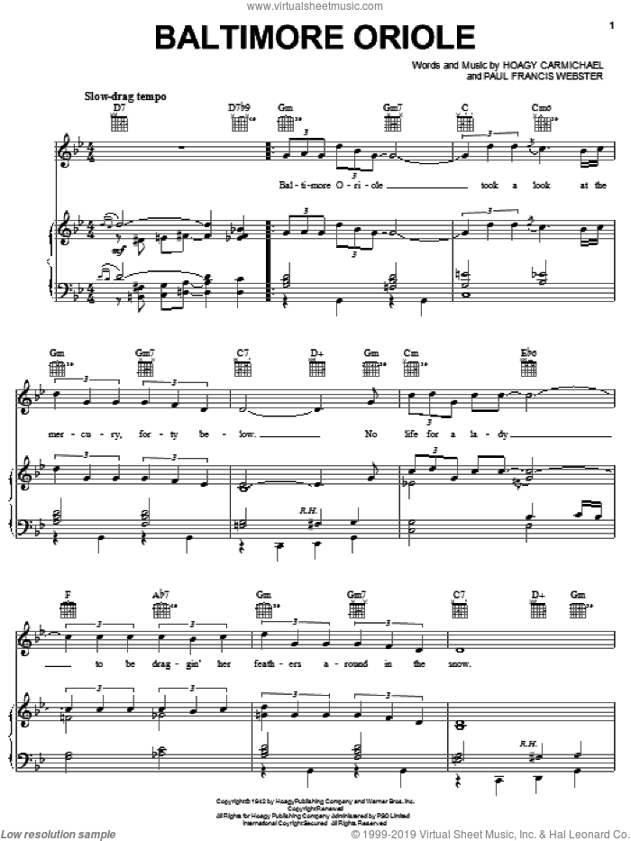 Baltimore Oriole sheet music for voice, piano or guitar by Hoagy Carmichael and Paul Francis Webster, intermediate skill level