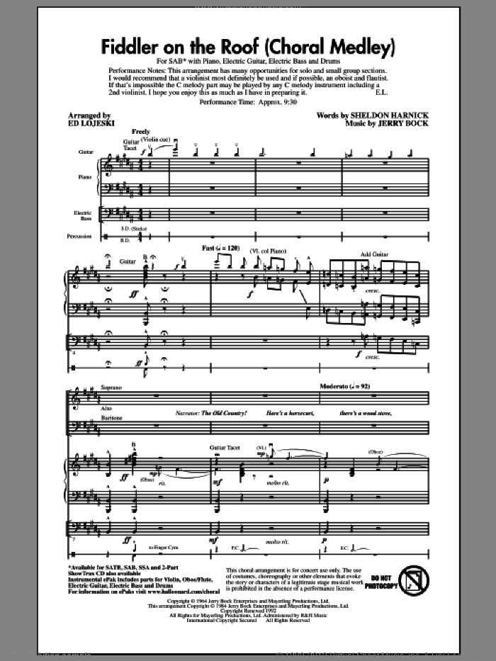 Fiddler On The Roof (Choral Medley) (arr. Ed Lojeski) sheet music for choir (SAB: soprano, alto, bass) by Sheldon Harnick, Bock & Harnick, Jerry Bock and Ed Lojeski, intermediate skill level