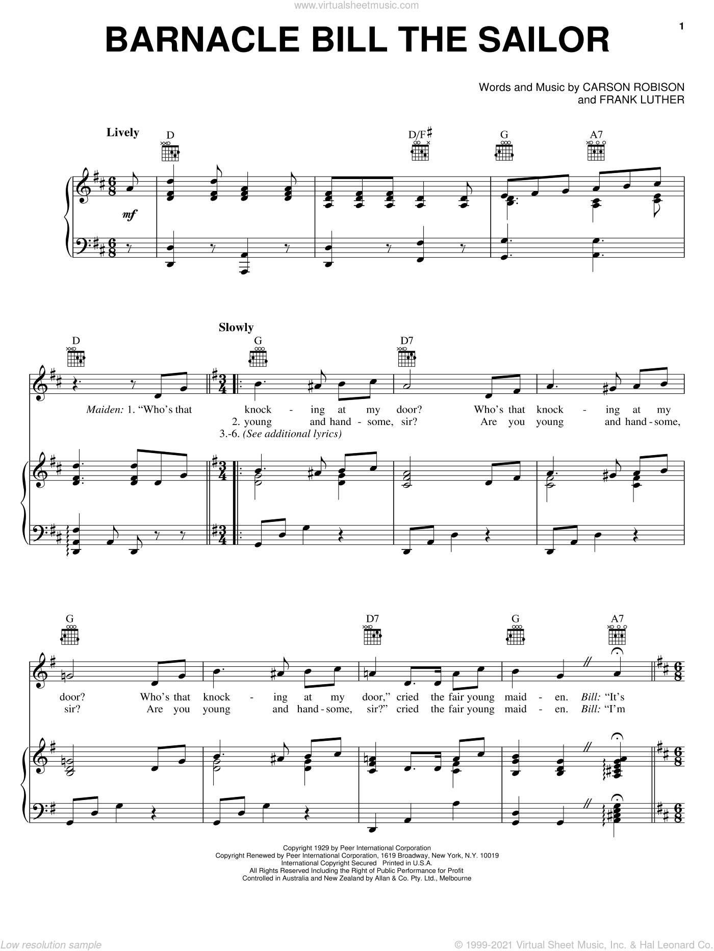 Barnacle Bill The Sailor sheet music for voice, piano or guitar by Carson Robison