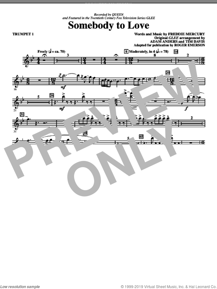 Somebody To Love (arr. Roger Emerson) (complete set of parts) sheet music for orchestra/band by Roger Emerson, Adam Anders, Freddie Mercury, Glee Cast, Miscellaneous, Queen and Tim Davis, intermediate skill level
