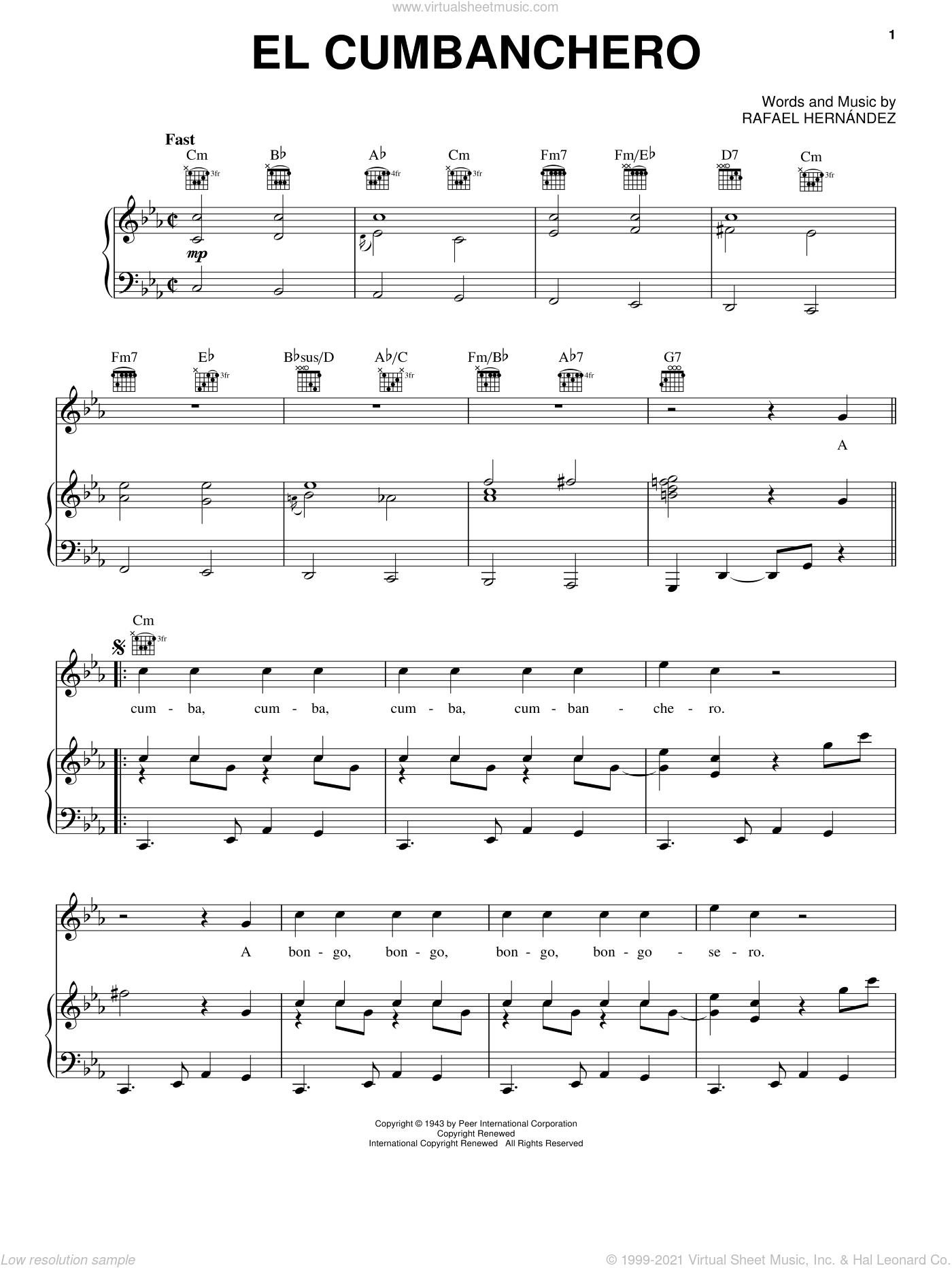El Cumbanchero sheet music for voice, piano or guitar by Rafael Hernandez, intermediate skill level