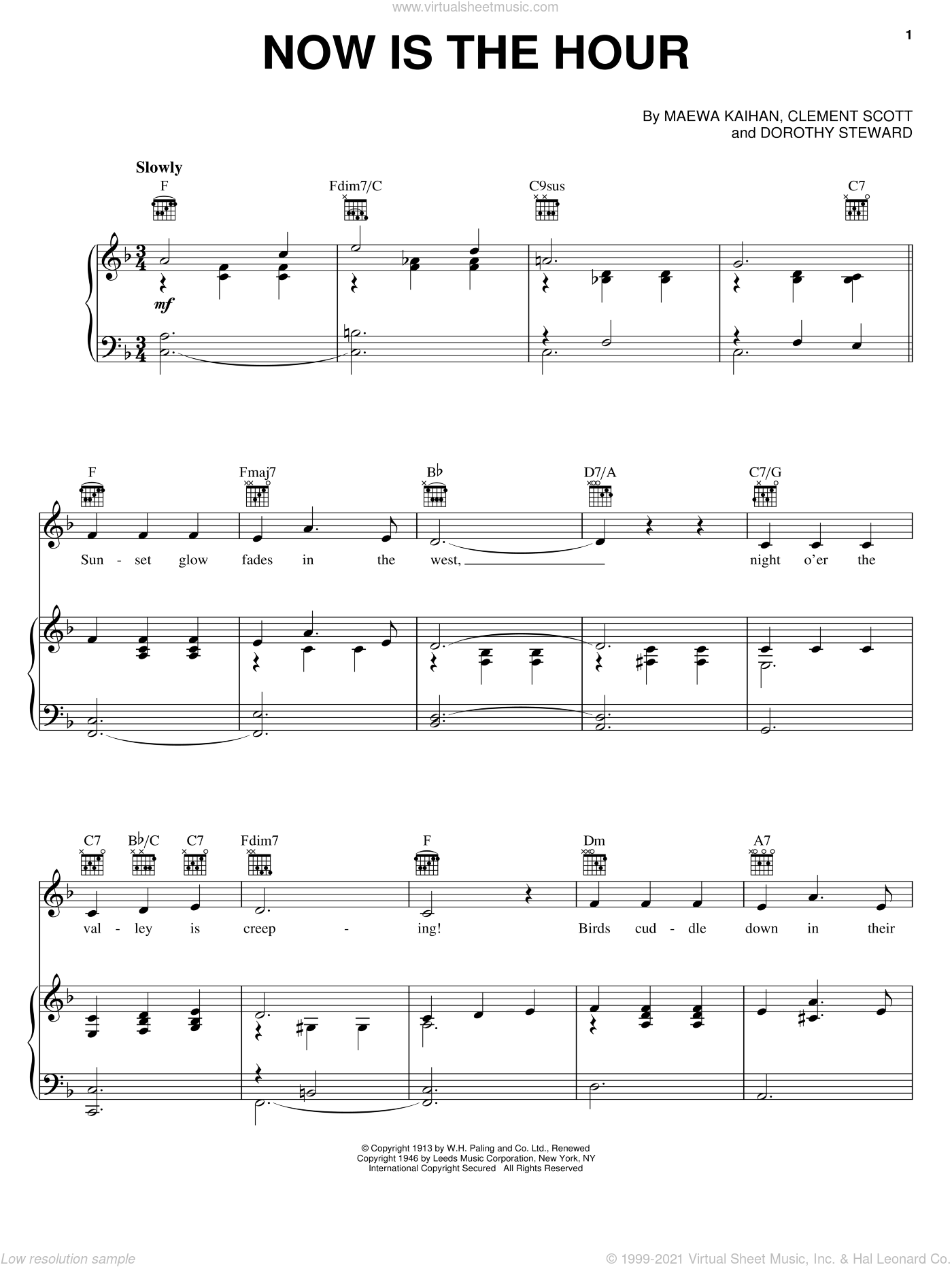 Now Is The Hour (Maori Farewell Song) sheet music for voice, piano or guitar by Bing Crosby, Clement Scott, Dorothy Stewart and Maewa Kaithau, intermediate skill level