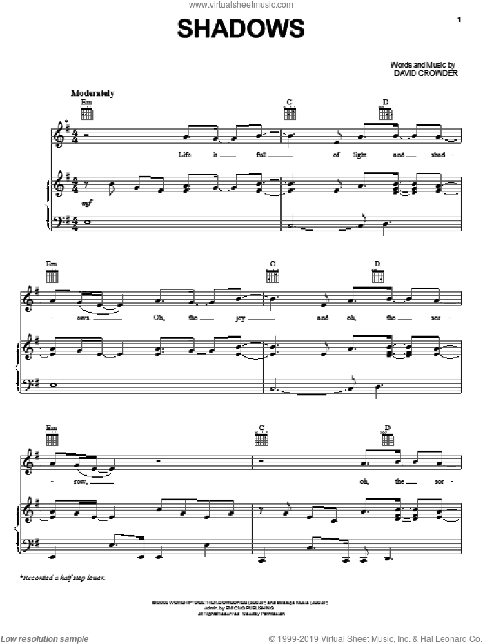 Shadows sheet music for voice, piano or guitar by David Crowder Band and David Crowder. Score Image Preview.