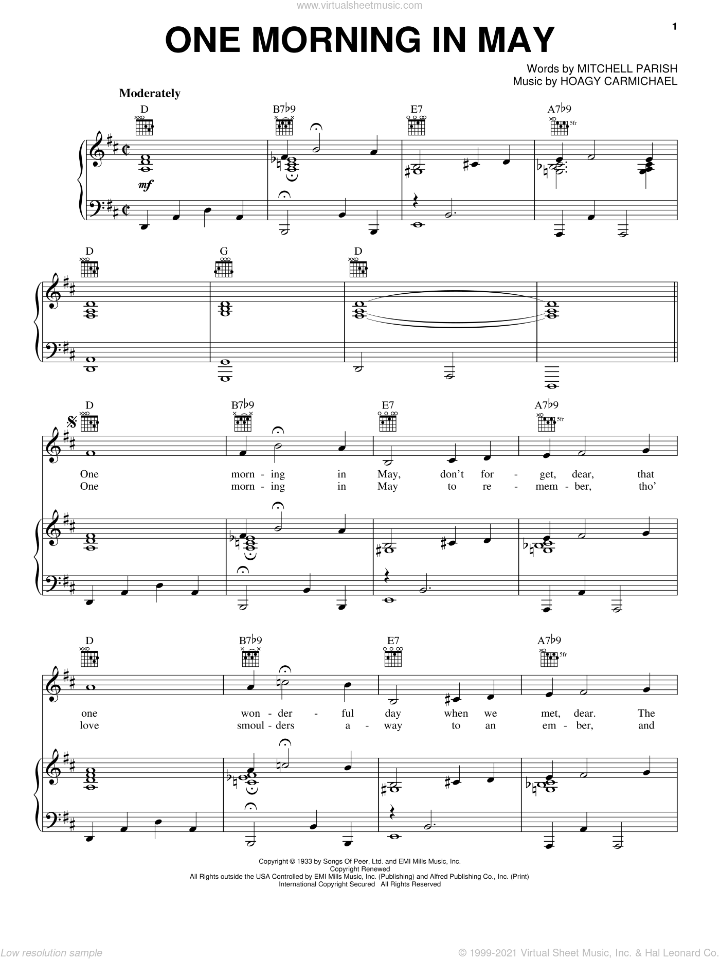 One Morning In May sheet music for voice, piano or guitar by Mitchell Parish and Hoagy Carmichael, intermediate skill level