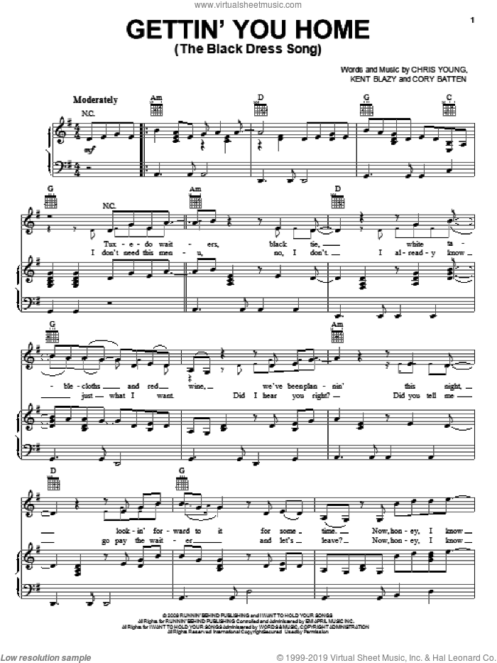 Gettin' You Home (The Black Dress Song) sheet music for voice, piano or guitar by Chris Young, Cory Batten and Kent Blazy. Score Image Preview.