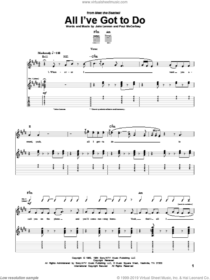 All I've Got To Do sheet music for guitar (tablature) by Paul McCartney, The Beatles and John Lennon. Score Image Preview.
