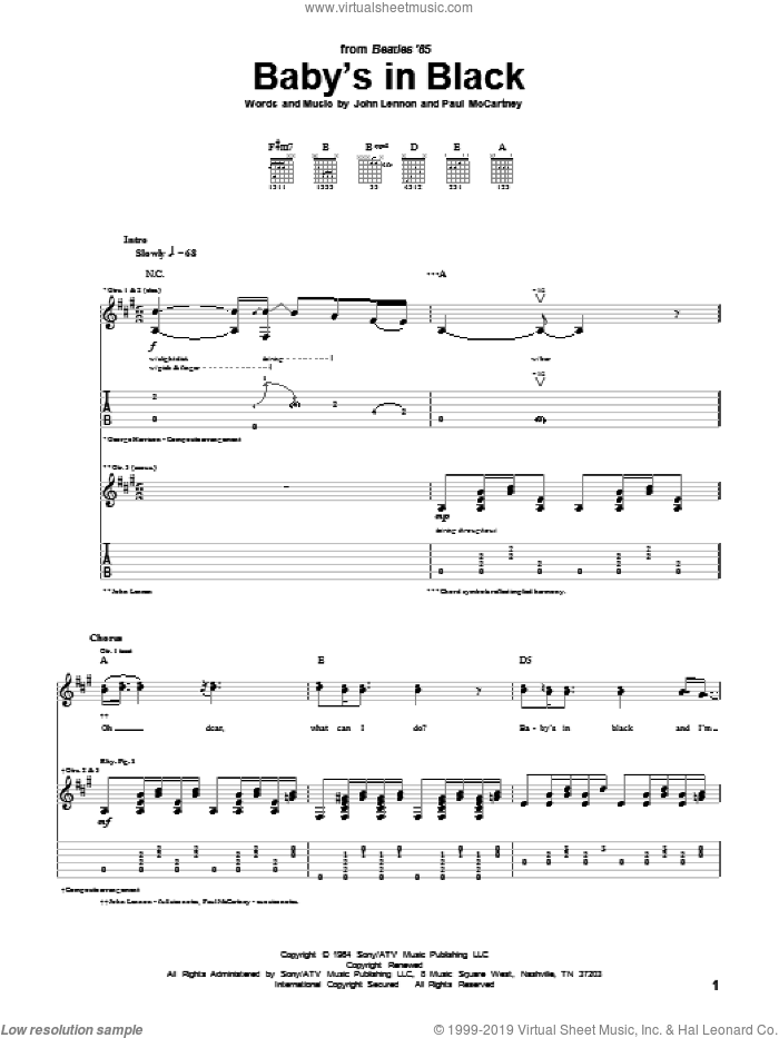 Baby's In Black sheet music for guitar (tablature) by Paul McCartney, The Beatles and John Lennon. Score Image Preview.