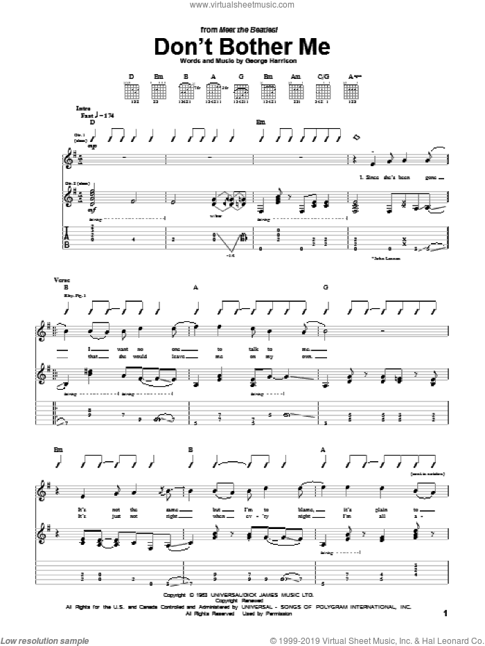Don't Bother Me sheet music for guitar (tablature) by The Beatles, The Beetles and George Harrison, intermediate skill level