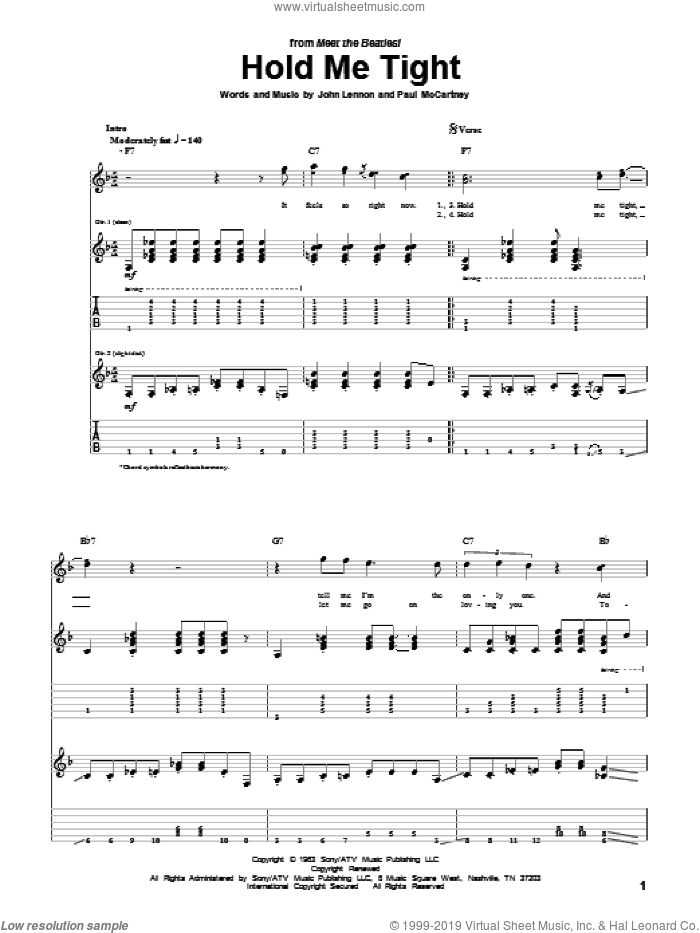 Hold Me Tight sheet music for guitar (tablature) by Paul McCartney, The Beatles and John Lennon. Score Image Preview.