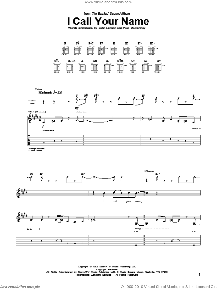I Call Your Name sheet music for guitar (tablature) by Paul McCartney