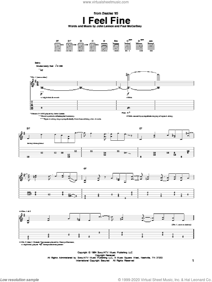 I Feel Fine sheet music for guitar (tablature) by The Beatles, John Lennon and Paul McCartney. Score Image Preview.
