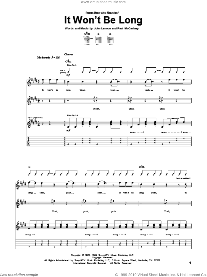 It Won't Be Long sheet music for guitar (tablature) by The Beatles, John Lennon and Paul McCartney, intermediate guitar (tablature). Score Image Preview.