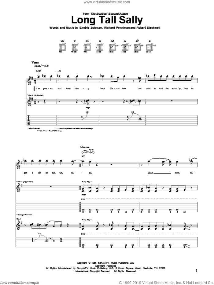 Long Tall Sally sheet music for guitar (tablature) by Robert Blackwell, Pat Boone, The Beatles and Richard Penniman. Score Image Preview.