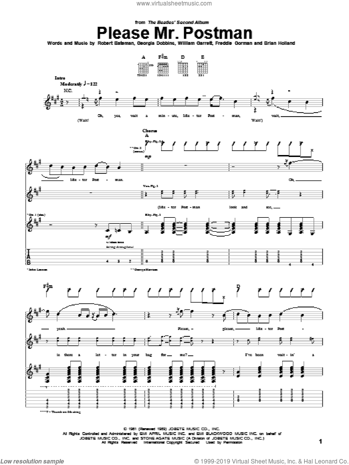 Please Mr. Postman sheet music for guitar (tablature) by William Garrett, Carpenters, The Beatles, The Marvelettes, Brian Holland, Freddie Gorman and Robert Bateman. Score Image Preview.