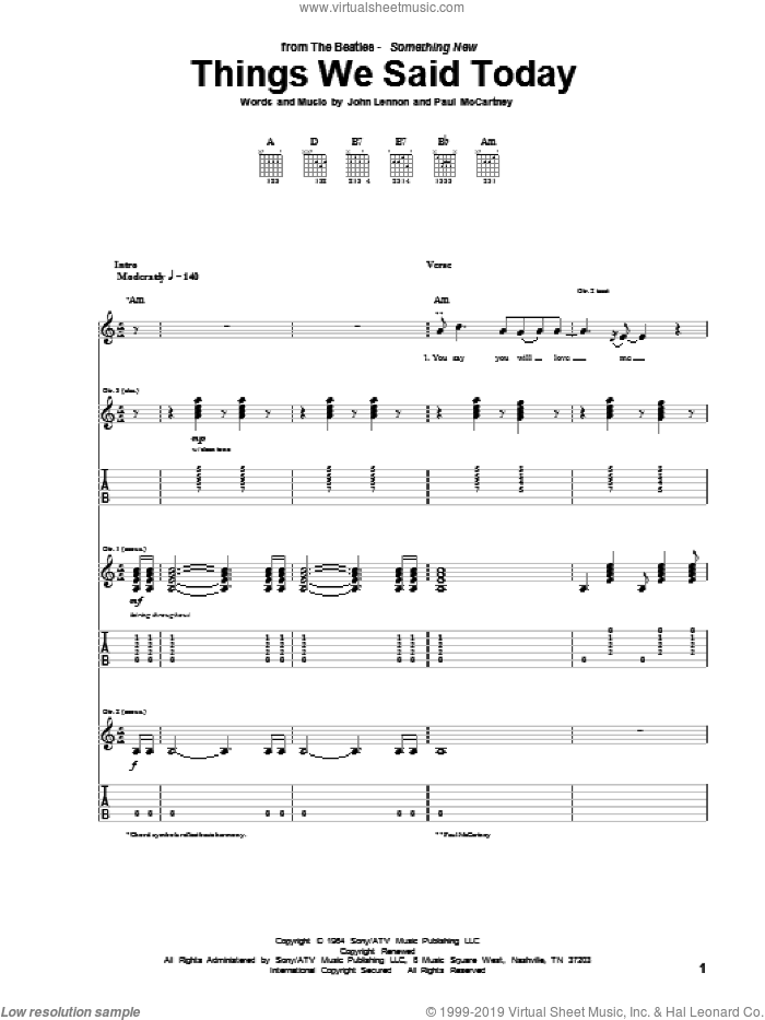 Things We Said Today sheet music for guitar (tablature) by The Beatles, John Lennon and Paul McCartney, intermediate. Score Image Preview.
