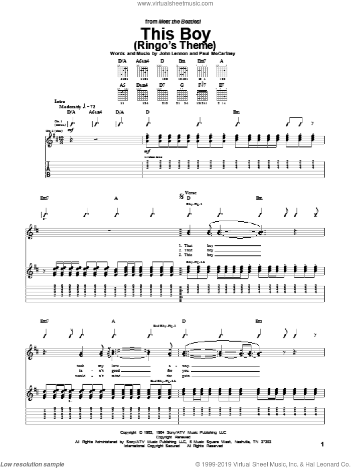 This Boy (Ringo's Theme) sheet music for guitar (tablature) by Paul McCartney, The Beatles and John Lennon. Score Image Preview.