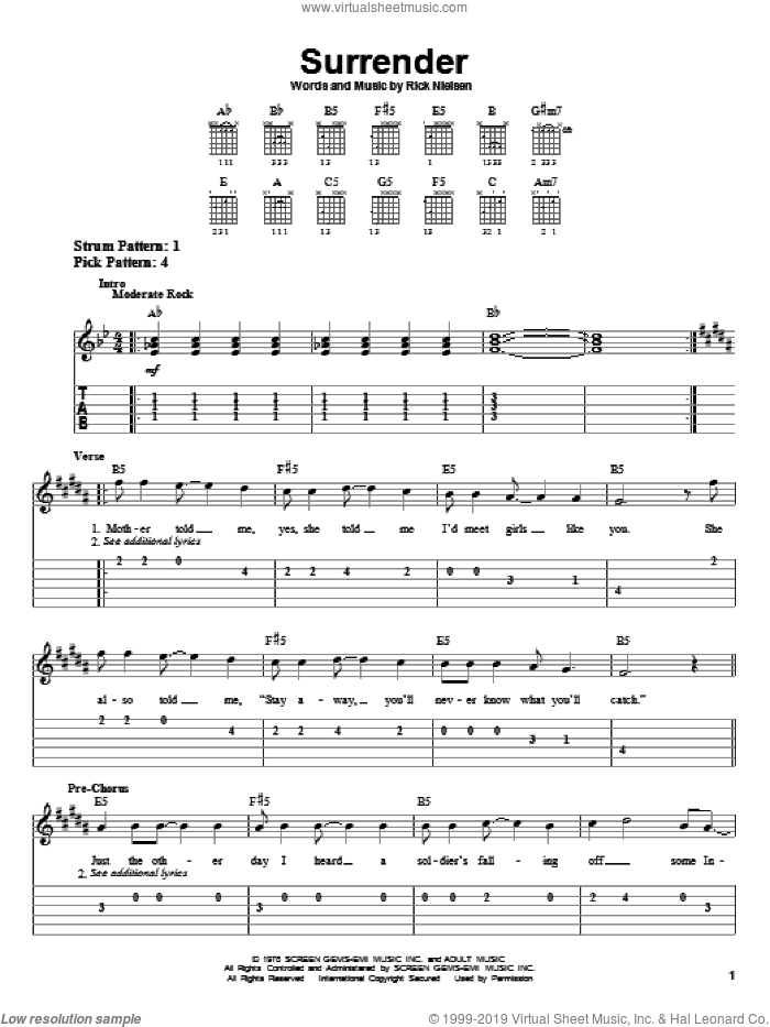Surrender sheet music for guitar solo (easy tablature) by Cheap Trick. Score Image Preview.
