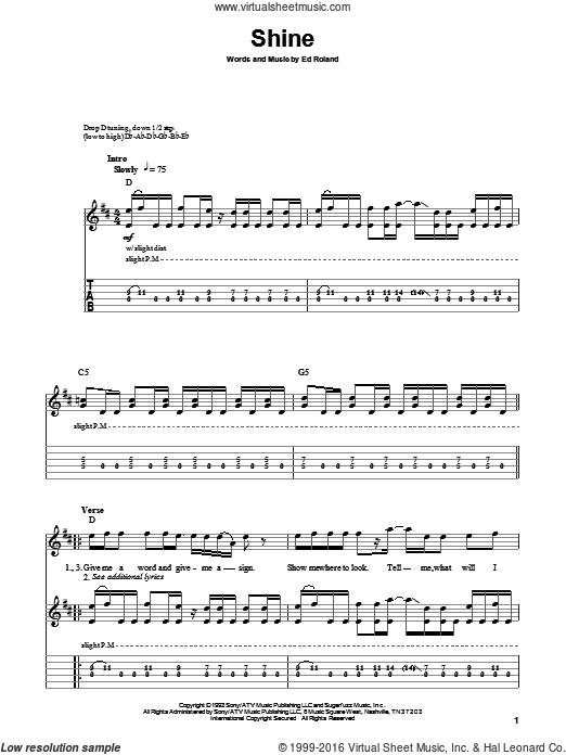 Shine sheet music for guitar (tablature, play-along) by Collective Soul and Ed Roland, intermediate