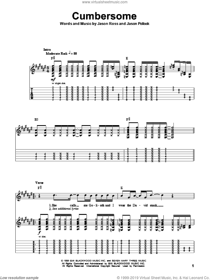 Cumbersome sheet music for guitar (tablature, play-along) by Jason Ross