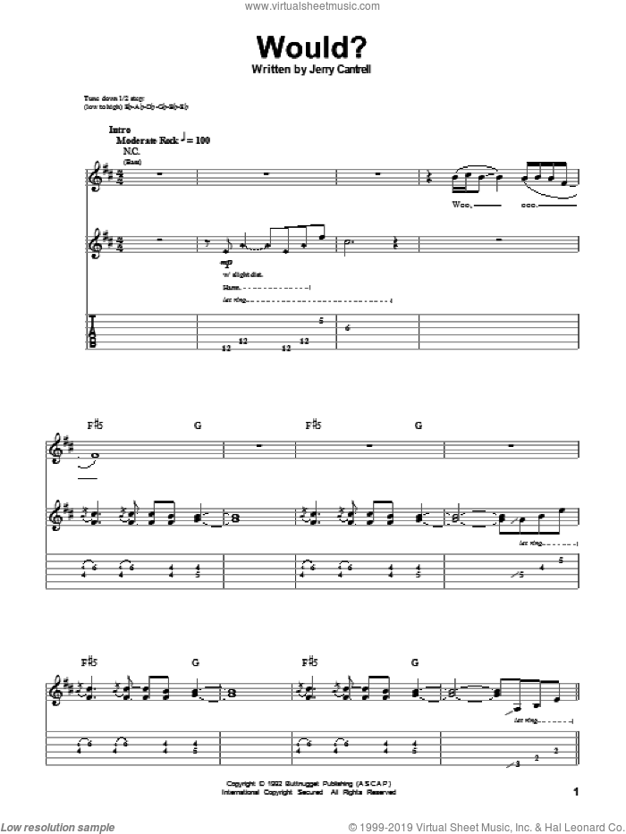 Would? sheet music for guitar (tablature, play-along) by Alice In Chains, intermediate. Score Image Preview.