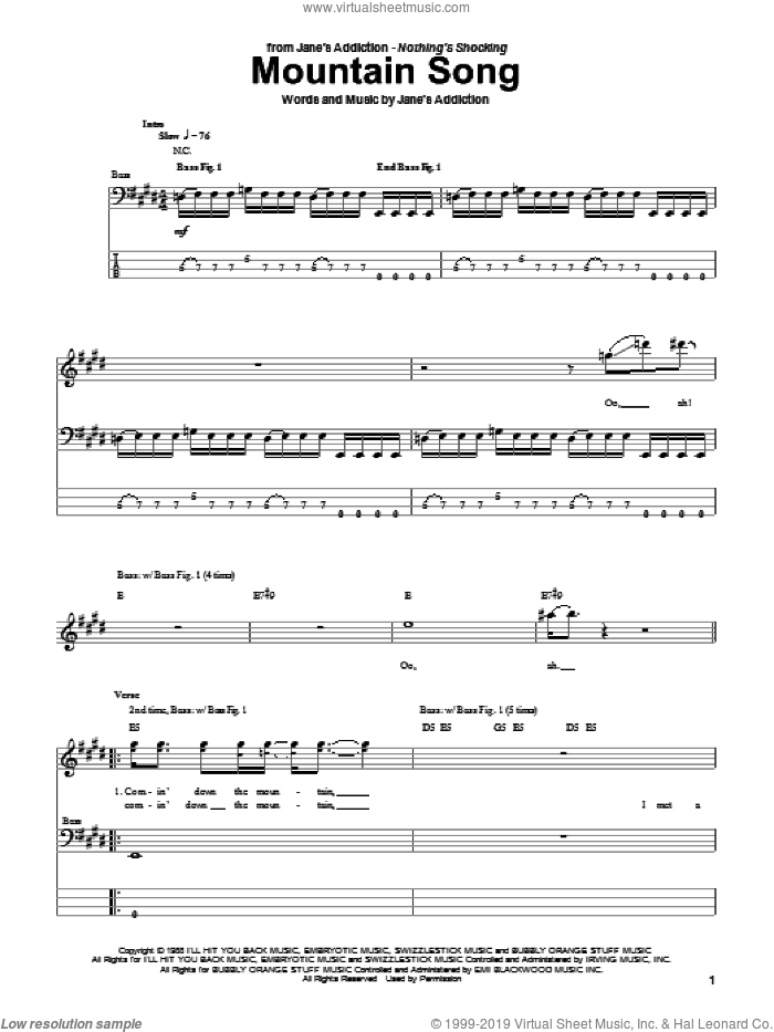 Mountain Song sheet music for bass (tablature) (bass guitar) by Jane's Addiction