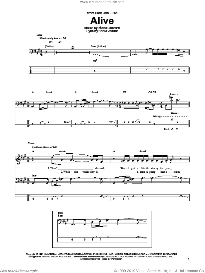 Alive sheet music for bass (tablature) (bass guitar) by Pearl Jam and Eddie Vedder. Score Image Preview.
