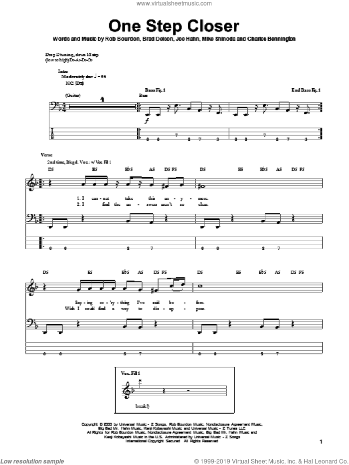 One Step Closer sheet music for bass (tablature) (bass guitar) by Linkin Park, intermediate bass (tablature) (bass guitar). Score Image Preview.