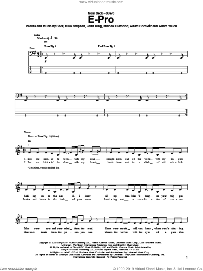 E-Pro sheet music for bass (tablature) (bass guitar) by Beck Hansen, Adam Horovitz, Adam Yauch, John King and Mike Simpson. Score Image Preview.