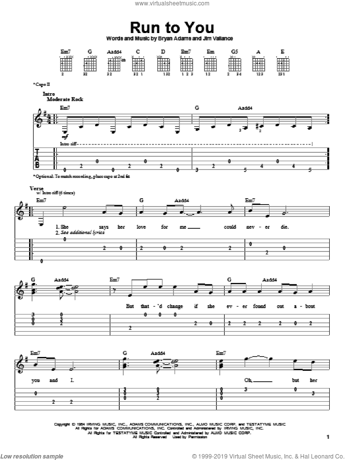 Run To You sheet music for guitar solo (easy tablature) by Bryan Adams and Jim Vallance, easy guitar (easy tablature). Score Image Preview.