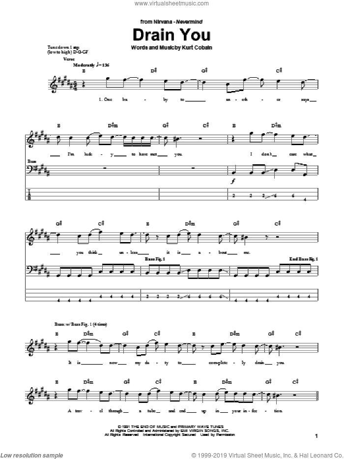 Drain You sheet music for bass (tablature) (bass guitar) by Nirvana and Kurt Cobain, intermediate skill level