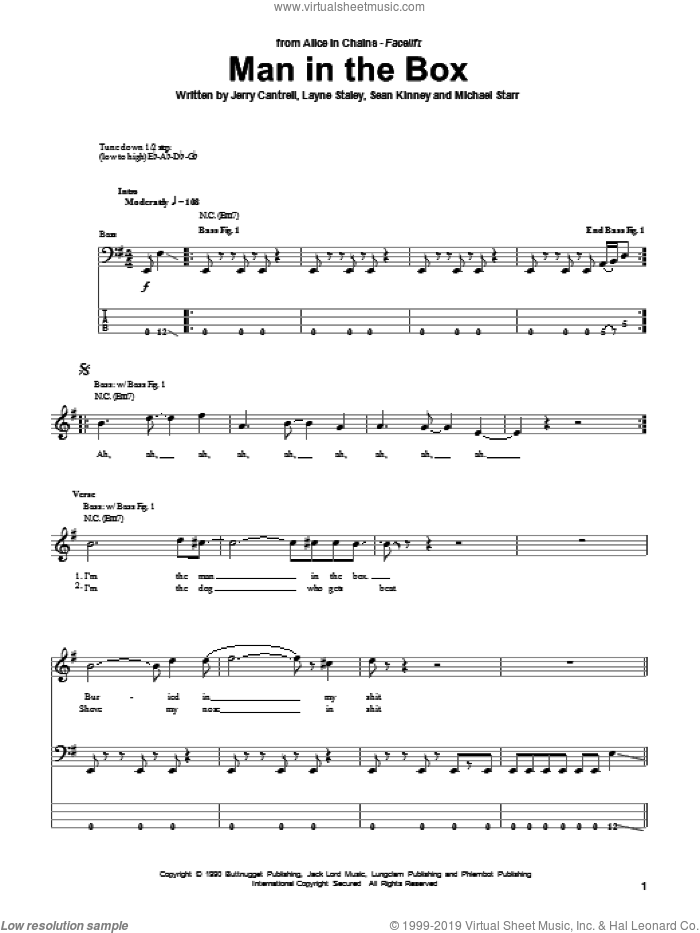 Man In The Box sheet music for bass (tablature) (bass guitar) by Alice In Chains, Jerry Cantrell, Layne Staley, Michael Starr and Sean Kinney, intermediate