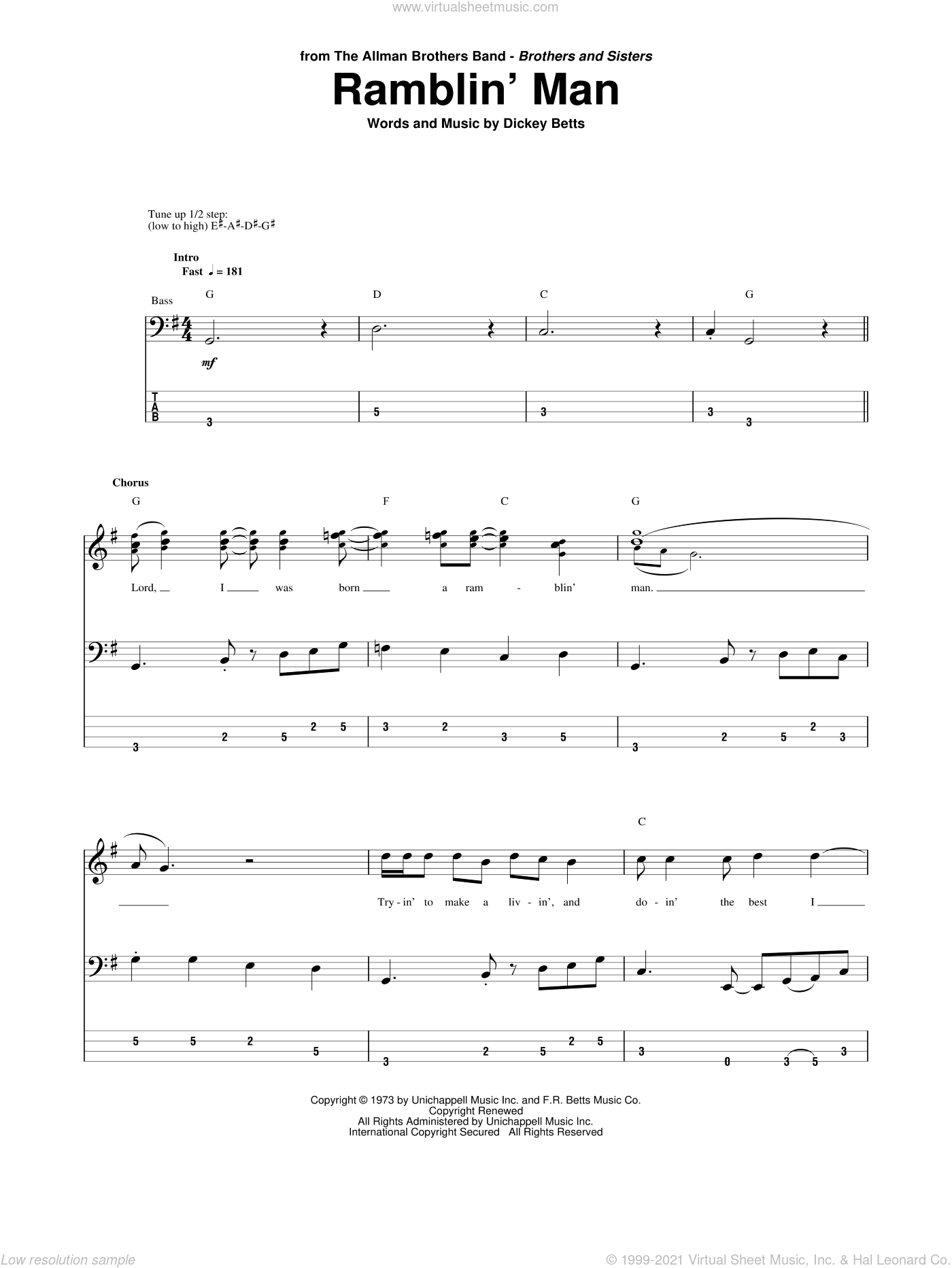 Ramblin' Man sheet music for bass (tablature) (bass guitar) by Allman Brothers Band, The Allman Brothers Band and Dickey Betts, intermediate