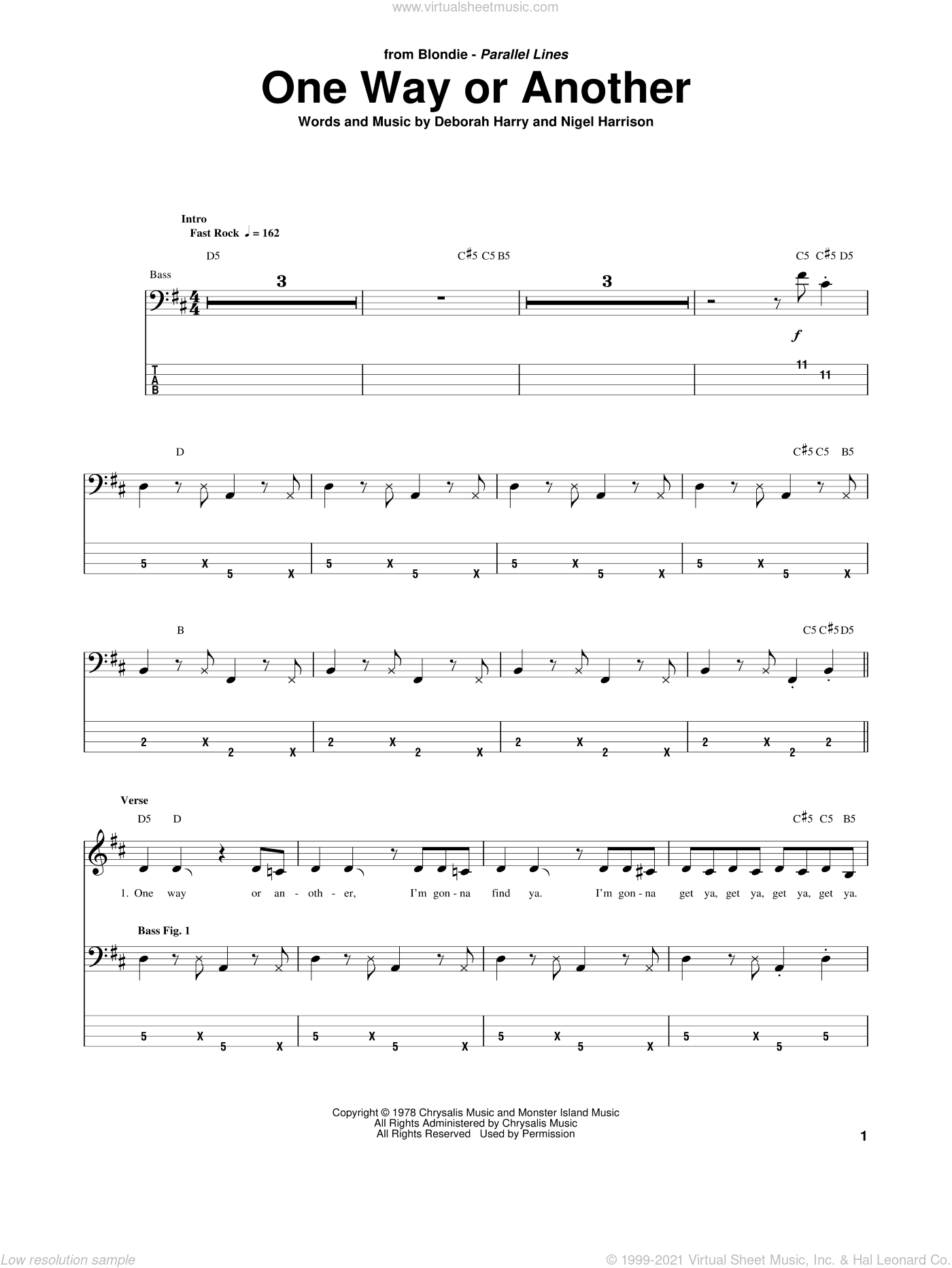 One Way Or Another sheet music for bass (tablature) (bass guitar) by Nigel Harrison, Blondie and Deborah Harry. Score Image Preview.
