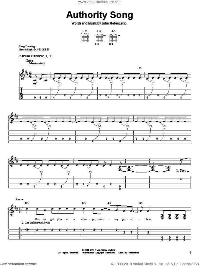 Authority Song sheet music for guitar solo (easy tablature) by John Mellencamp