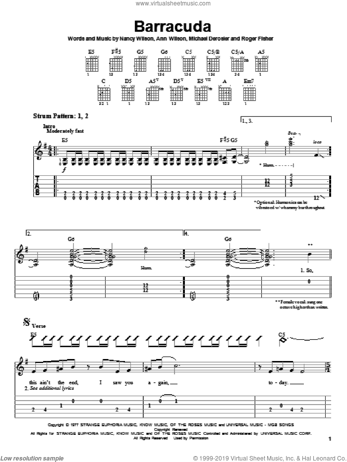Barracuda sheet music for guitar solo (easy tablature) by Heart, Ann Wilson and Nancy Wilson, easy guitar (easy tablature). Score Image Preview.