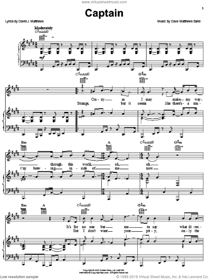 Captain sheet music for voice, piano or guitar by Dave Matthews Band. Score Image Preview.