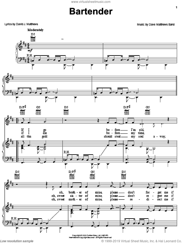 Bartender sheet music for voice, piano or guitar by Dave Matthews Band. Score Image Preview.